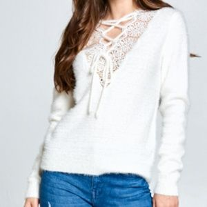 FRONT LACE UP SWEATER